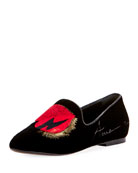 Heart-Embroidered Suede Smoking Slipper
