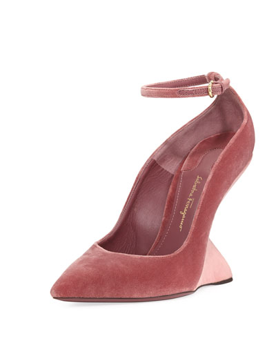 Velvet Wedge Pump, Blush