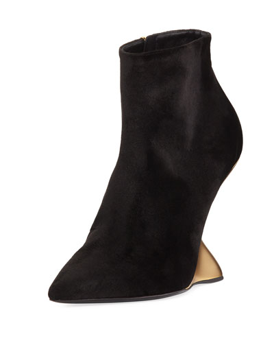 Velvet Bootie with Golden Wedge Heel, Nero