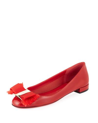 Fringe Vara Bow Patent Ballerina Flat, Lipstick