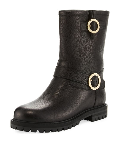 Leather Buckle Boot, Nero