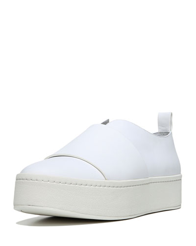 Wallace Leather Platform Skate Sneaker, White