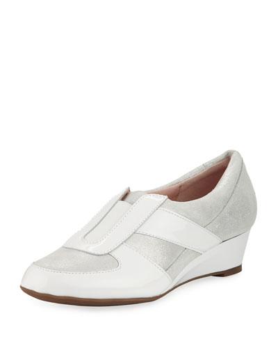 Pooms Metallic Low Wedge Traveler Shoe
