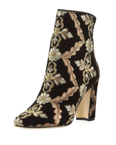 Isola Embroidered Velvet Bootie
