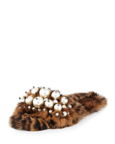 Pearly Fur Slide Sandal, Leopard