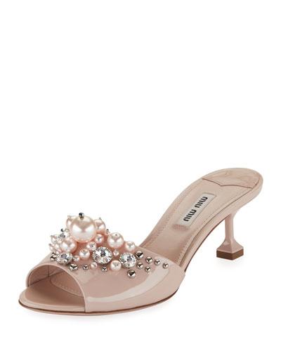 Pearlescent Embellished Slide Sandal, Beige