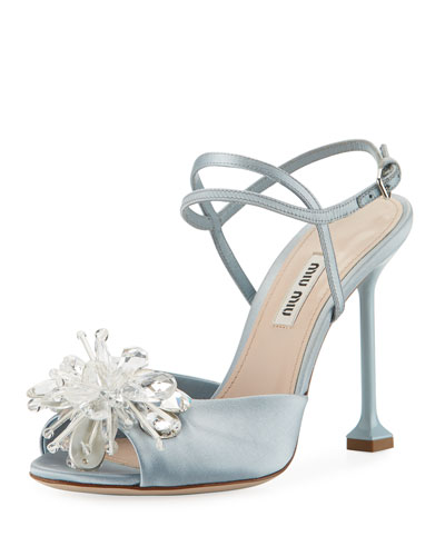 Crystal-Embellished Sandal, Blue