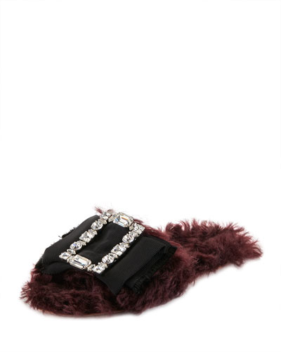 Forma Furry Flat Slide Sandal, Dark Red