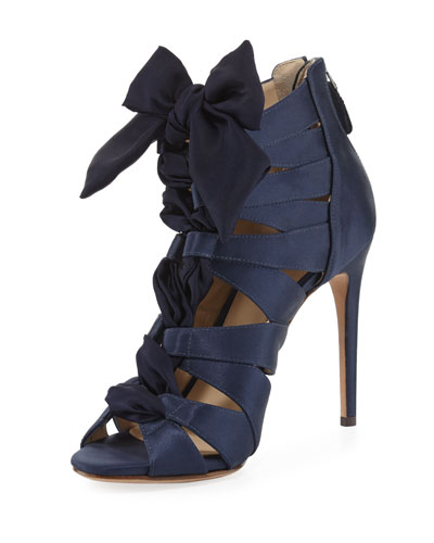 Layla Satin Cutout Sandal, Night Shade