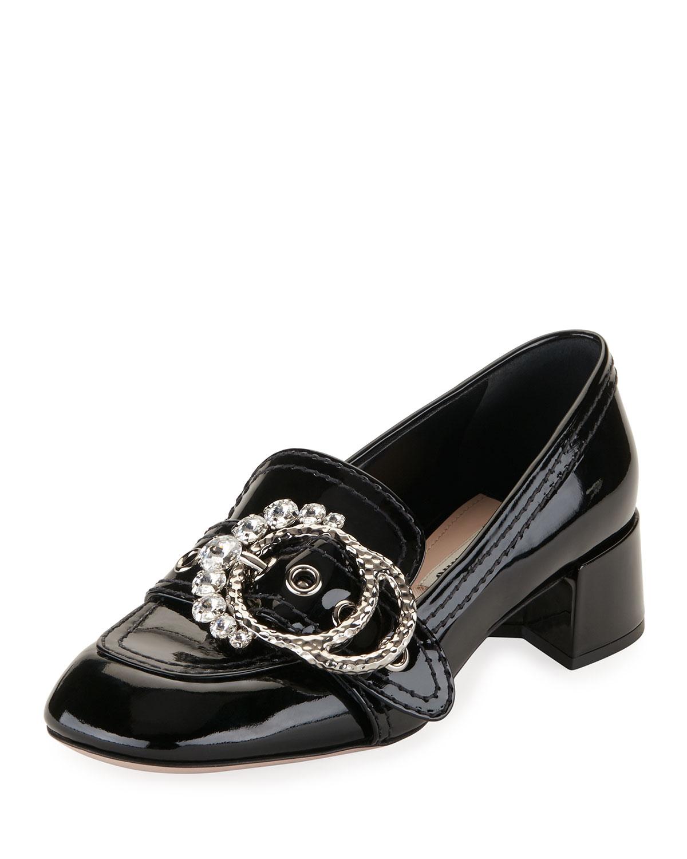 Embellished-Buckle Patent Loafer Pump, Black