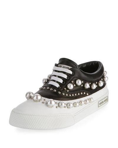 Pearlescent Border Platform Sneaker, Black/White