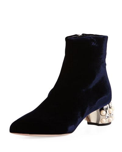 Fondo Jewel-Heel Velvet Ankle Boot, Blue