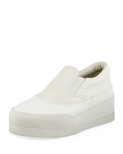 Leather Platform Skate Sneaker, White