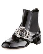 Crystal-Embellished Patent Bootie, Black