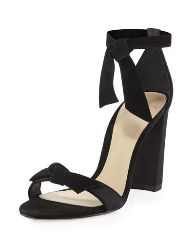 Clarita Suede/Grosgrain 90mm Sandal, Black