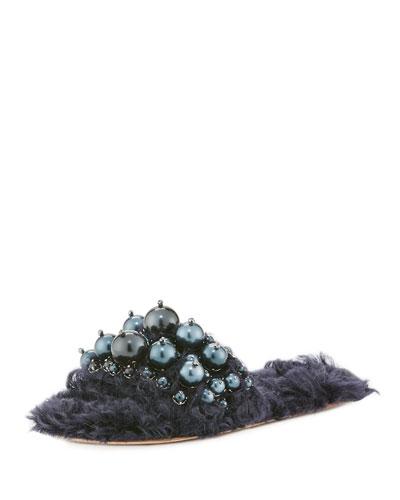 Pearly Flat Slide Sandal, Blue