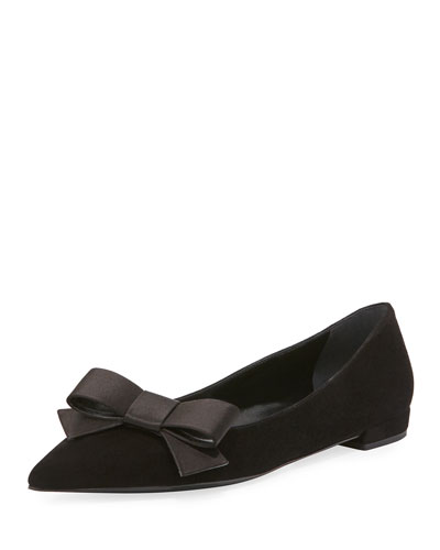 Suede Bow Ballerina Flat, Black