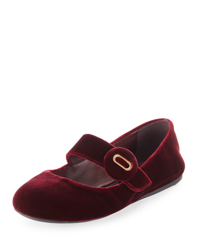 Velvet Mary Jane Ballerina Flat, Dark Red