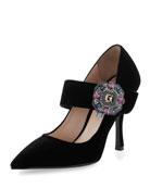 Embellished Velvet Mary Jane Pump, Black