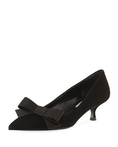 Suede Kitten-Heel Bow Pump, Black