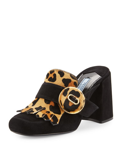 Leopard-Print Fringed Loafer Mule, Black