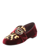 Velvet Leopard-Print Loafer, Dark Red