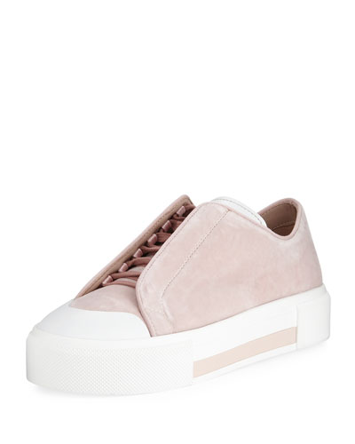 Suede Concealed Lace-Up Low-Top Platform Sneaker