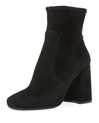 Suede Chunky-Heel Bootie, Black