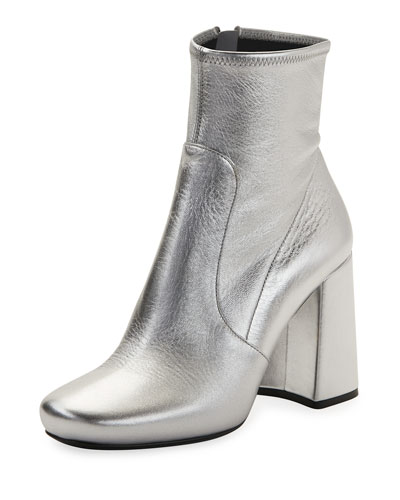 Crinkled Metallic Zip Bootie, Silver