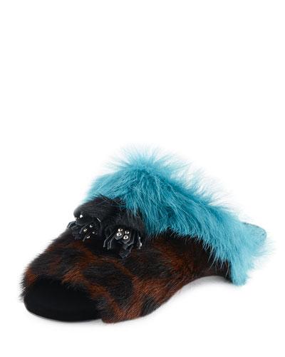 Colorblock Fur Flat Mule Sandal, Leopard