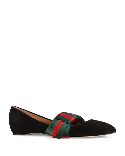 Web Bow Suede Ballerina Flat, Black