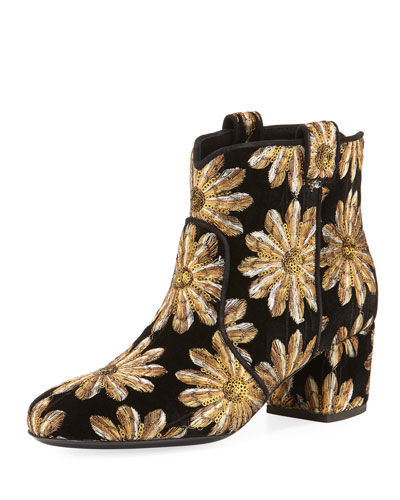 Belen Metallic Embroidered Velvet Western Bootie