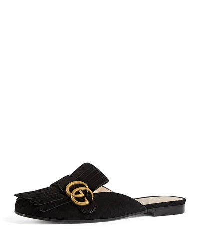 Marmont Suede Mule Loafer, Black