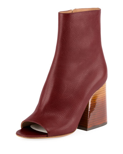 Chunky-Heel Peep-Toe Booties, Bordeaux