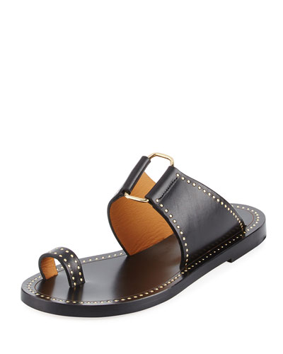 Jeppy Flat Studded Leather Sandal, Black/Dore