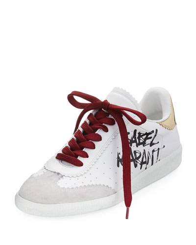 Bryce Lace-Up Logo-Print Sneaker, White