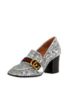 Peyton Glitter Slip-On Loafer Pump, Silver