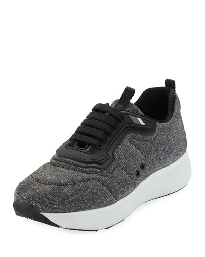 Metallic Lace-Up Wedge Sneaker, Gray