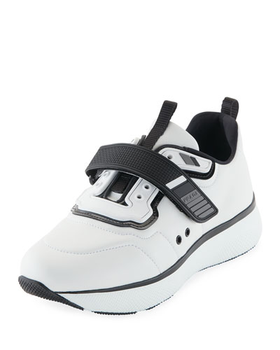 Leather Grip-Strap Sneaker, White