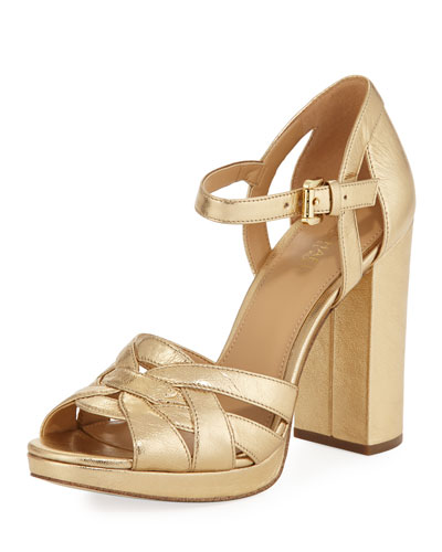 Annaliese Metallic Leather Platform Sandal, Gold