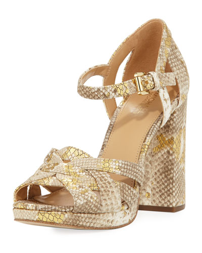 Annaliese Metallic Snake-Embossed Platform Sandal, Natural/Gold