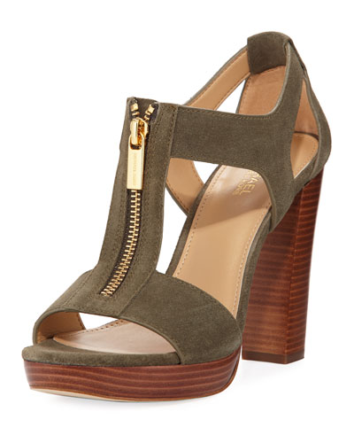 Berkley Cutout Zip Sandal, Olive