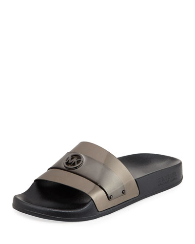 Jett Metallic Slide Sandal, Gray