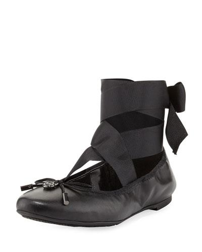 Myles Ankle-Wrap Ballerina Flat, Black