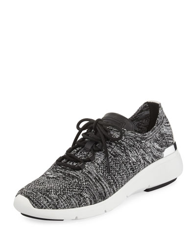 Skyler Knit Lace-Up Trainer Sneaker, Black