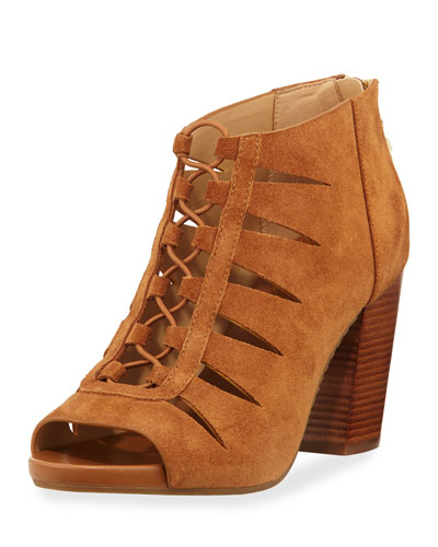 Elsie Cutout Lace-Up Bootie, Acorn