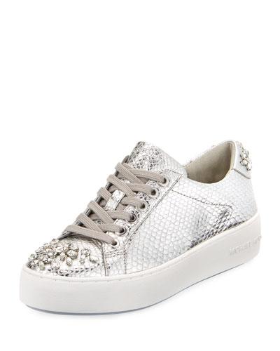 Poppy Embellished Metallic Sneaker, Silver