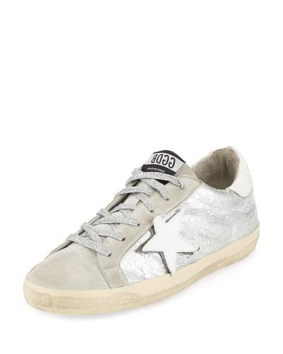 Superstar Suede/Metallic Low-Top Sneaker, Silver