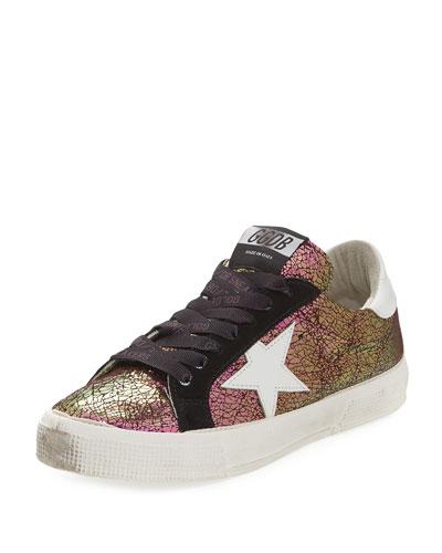May Crackled Low-Top Sneaker, Purple Metallic