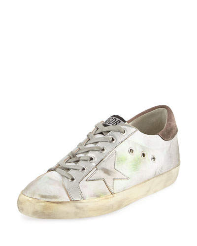 Superstar Fabric/Metallic Low-Top Sneaker, Silver